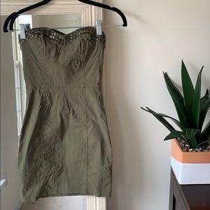 H&M army green strapless dress w/ studs (4) ✨